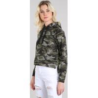 Blusão Feminino Estampado Camuflado Em Moletom Com Capuz Verde Militar