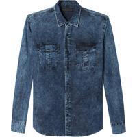 Camisa John John Lucas Jeans Azul Masculina (Jeans Escuro, M)