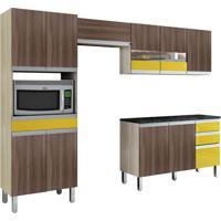 Cozinha Compacta Turmalina 11 Pt 3 Gv Teka Com Mocaccino E Amarelo