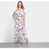 Vestido Edivi Longo Floral Com Amarração - Feminino-Branco+Azul