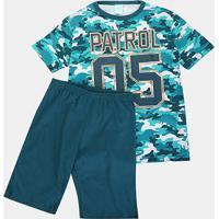 Pijama Infantil Kyly Camuflado Brilha No Escuro Masculino - Masculino-Verde