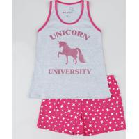 Pijama Infantil Unicórnio Com Glitter Regata Cinza Mescla
