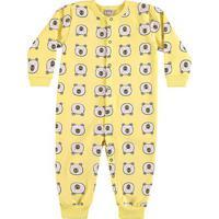 Pijama Bebê Macacão Longo Boca Grande Ursinho - Masculino-Amarelo