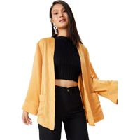 Amaro Feminino Kimono Japonês Com Bolso, Amarelo Escuro