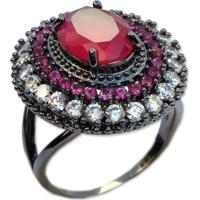Anel Oval Cravejado Com Zircônia Rosa Pink Banho Em Ródio Negro Aro 18