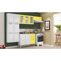 Cozinha Modulada Completa 4 Módulos Com Balcão Luce Em Aço Branco/Amarelo Claro - Itatiaia