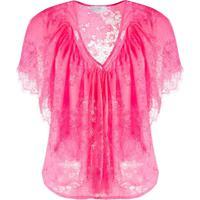 So Allure Blusa Gola V Com Renda Floral - Rosa