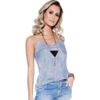 Blusa Knt Jeans Alcinha - Feminino-Azul