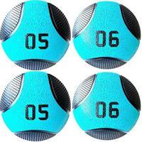 Kit 4 Medicine Ball Liveup Pro 5 E 6 Kg Bola De Peso Treino Funcional - Unissex