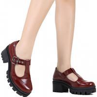 Sapato Open Boot Dakota Tratorado Verniz Vermelho