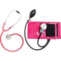 Kit Aparelho De Pressão Rosa Com Esteto Simples Rosa Cjpa101 P.A.Med