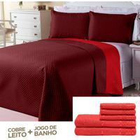 Kit Dourados Enxovais Combo Cobre Leito Jogo De Banho Dual Color Bordô/Vermelho Casal Padrão 08 Peças
