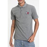 Camiseta Polo Tommy Jeans Logo Cinza