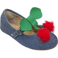Sapato Boneca Pompom- Azul Escuro & Vermelhole Cut