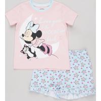 Pijama Infantil Minnie Manga Curta Rosa
