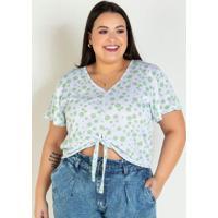Blusa Poá Verde Com Detalhe De Amarrar Plus Size