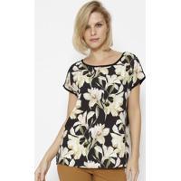 Blusa Floral Com Recorte - Preta & Off Whitesimple Life