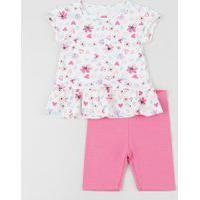 Conjunto Infantil De Blusa Estampada Floral Com Babado Manga Curta + Bermuda Rosa