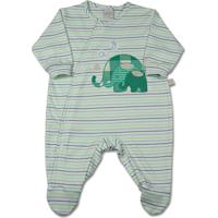 Macacão Bebê Suedine Listrado Playfull 3 Elefant - Unissex