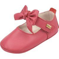 Sapato Doce Bebê Em Couro Vermelho