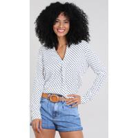 Camisa Feminina Estampada De Poá Manga Longa Decote V Off White