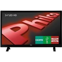 """Tv Led Hd Philco 24"""" Ph24E30D Com Receptor Digital Integrado 2 Hdmi Usb"""