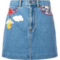 Marc Jacobs Saia Jeans Com Aplicações - Azul