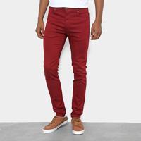 Calça Skinny Cavalera Sarja Color Masculina - Masculino-Vermelho