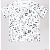 Camiseta Juvenil Estampada Tropical Manga Curta Off White