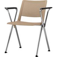 Cadeira Up Com Bracos Assento Bege Base Fixa Cromada - 54320 - Sun House