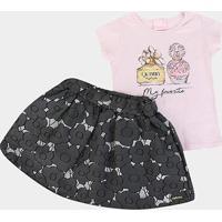 Conjunto Infantil Quimby Short-Saia Feminino - Feminino-Lilás