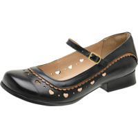 Sapato Boneca Malbork Salto Baixo Couro Preto 3204