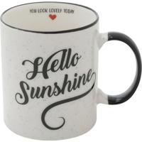 "Caneca ""Hello Sunshine""- Branca & Preta- 350Ml- Urban"