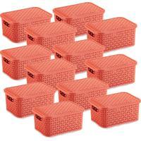 12 Caixas Organizadoras Rattan Pequena Cor Coral 15,3 X 20,5 X 9,5 Cm - Tricae
