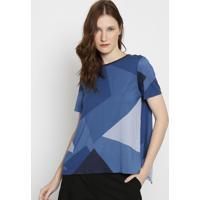 Blusa Geomã©Trica Com Bordado & Fenda- Azul Marinho & Azulacoste