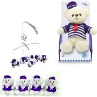 Móbile + Urso Marinheiro De Pelúcia 30Cm - Unik Toys Azul - Kanui