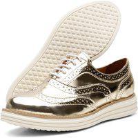 Sapato Oxford Casual Conforto Verniz Ouro Light