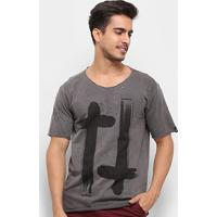 Camiseta Bossa Brasil Cruzes Masculina - Masculino-Chumbo