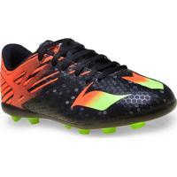 Chuteira Masc Infantil Adidas Af4673 Messi 15.4 Fxg Jr Preto/Laranja/Verde