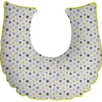 Almofada Amamentação Branca Com Estrelas Viés Amarelo Soninho De Bebe