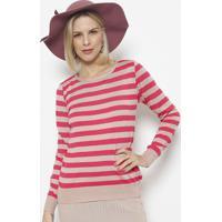 Blusa Em Tricot Listrada- Rosa & Pink- Ponto Aguiarponto Aguiar