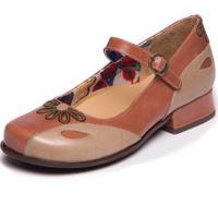 Sapato Mzq Boneca Em Couro - Nude / Taupe / Chocolate 5774
