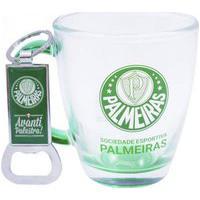 Jogo Caneca De Vidro 370Ml E Abridor Palmeiras Oficial