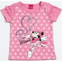 Blusa Infantil Estampa Bolinhas Minnie Disney