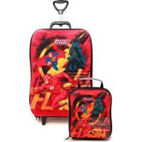 Kit 2 Pçs Max Toy Mochila De Rodinhas Liga Da Justiça The Flash Vermelho