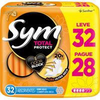 Absorvente Sym Total Protect Cobertura Seca Com Abas Leve 32 Pague 28 Unidades