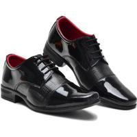 Sapato Social Verniz Com Cadarço Masculino - Masculino-Preto