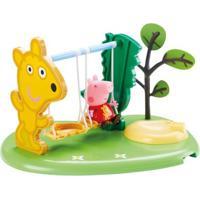 Playset E Mini Figuras - Peppa Pig - Peppa Hora De Brincar - Balanço - Dtc - Unissex-Incolor