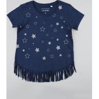 Blusa Infantil Com Estampa De Estrelas E Franjas Manga Curta Decote Redondo Azul Marinho