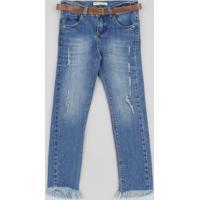 Calça Jeans Infantil Com Puídos E Cinto Azul Médio